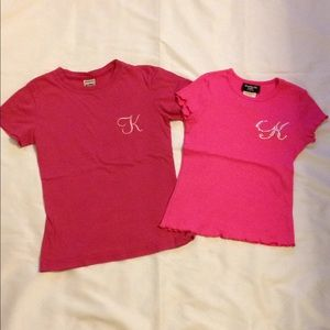"Other - 2 Girls Size Small Pink ""K"" Tees"